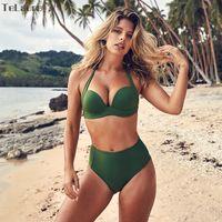 push up cintura alta traje de baño al por mayor-Sexy Cintura alta Bikini Set Traje de baño Mujer Traje de baño Push Up Bikini para mujer Top sin tirantes Bañador Biquini