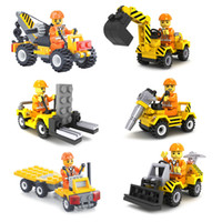 ingrosso modelli giocattoli gru-6pcs City Construction Team Bulldozer Escavatore Forklift Drill Flatbed Truck Crane Model Building Block Toy per i bambini