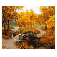 ingrosso kit di pittura unici-Unframed Autumn Landscape DIY Digital Painting By Numbers Modern Wall Art Picture Kit regalo unico Home Decor opere d'arte