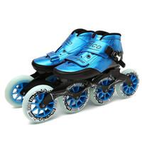 räder für schlittschuhe großhandel-Geschwindigkeit Inline Skates Kohlefaser 4 * 90/100 / 110mm Wettbewerb Skates 4 Räder Street Racing Skating Patines Ähnliche Powerslide