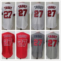 Wholesale Fast Stars - 2018 Men's 27 Mike Trout sTar cool base flex fast free shipping Embroidery Logos 100% Stitched