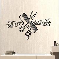 calcomanías de peluquería al por mayor-Peluquería Peluquería Shop Tijeras Clipper Hair Salon Calcomanía Neutral Corte de Pelo Póster Vinilo Decoración de Pared Windows Decoración 37 * 58 // 58 * 91 cm