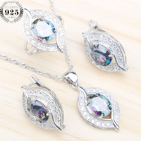 Wholesale Mystic Stone Rings - whole sale925 Sterling Silver Bridal Jewelry Sets Women Natural Mystic Rainbow Zircon Earrings With Stones Pendant&Necklace Rings Gift Box