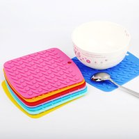 Wholesale meal pad - 10 Color Food Grade Silicone Meal Pads Non-slip Heat Resistant Mat Thicken Anti Scalding Coasters Home Kitchen Tool Free Shipping WX9-268