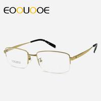 титановые очки оптовых-EOOUOOE мужчины Титан очки рама половина очки оптические очки Очки óculos очки ясно очки gafas миопии Грау компанию