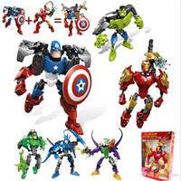 figura de batman brinquedos venda por atacado-Blocos de construção da maravilha 20 cm vingador figuras brinquedos batman hulk spiderman homem de ferro capitão américa superman blocos de quebra-cabeça brinquedos