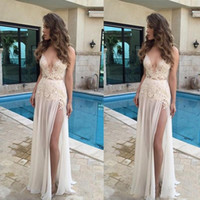 Wholesale plus side bridal party dresses for sale - 2018 Cheap Sexy V Neck Chiffon Prom Dress Spaghetti Straps Sleeveless Appliqued With Split Evening Party Dresses Summer Beach Bridal Gowns