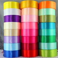saten kurdela 25 metre toptan satış-Yüksek Kalite 25 Yard Rulo 40mm Saten Kurdele Kenar Aksesuar Düğün Pastası DIY Şeker Kutusu Dekor Için Renkli Ambalaj Ev Tekstili