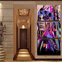 amerikanische indische malereien großhandel-Modular Moderne Bilder 3 Panel Native American Indian Top-Rated Home Decoration Leinwanddruck Gemälde Wand Für Wohnzimmer