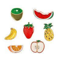 melancia do fruto dos desenhos animados venda por atacado-Banana Morango Melancia Kiwi Apple Orange Abacaxi Broche Botão Pins Denim Jacket Pin Emblema Dos Desenhos Animados Fruta Presente Da Jóia