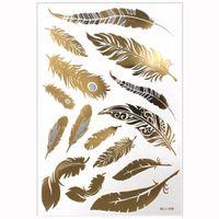 diseños de tatuajes metalicos al por mayor-1 UNIDS Flash Metallic Impermeable Tatuaje Oro Plata Mujeres Moda Henna Pavo Real Diseño de Plumas Tatuaje Temporal Stick Paster