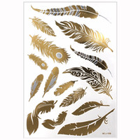 тату перья оптовых-1PCS Flash Metallic Waterproof Tattoo Gold Silver Women Fashion Henna Peacock Feather Design Temporary Tattoo Stick Paster