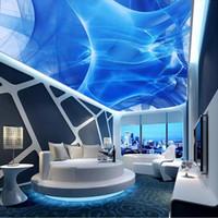 escritorios personalizados al por mayor-YOUMAN Custom Photo Wallpaper 3D Arte abstracto Home Decor Celling Wallpaper Blue Desktops Murales de pared Diseños modernos de techo