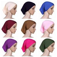 gorras de mujeres musulmanas al por mayor-30 cm * 24 cm Bufanda de la cabeza de las mujeres musulmanas islámicas Mercerizado de algodón Cubierta inferior de sombrerería Capó Liso Caps Hijabs interior CCA9582 120 unids
