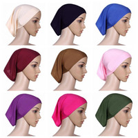 Wholesale acrylic head - 30cm*24cm Islamic Muslim Women's Head Scarf Mercerized Cotton Underscarf Cover Headwear Bonnet Plain Caps Inner Hijabs CCA9582 120pcs