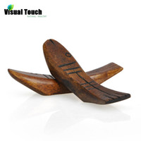 Wholesale Fish Rest - 1PC Visual Touch Healthy Japanese Style Solid Wood Fish Shaped Dark Wooden Tone Chopsticks Holder Spoon Rest Rack