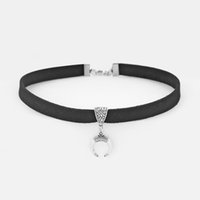 корчеватели оптовых-Dropshipping 1pcs Black Suede Velet Leather Cord With Metal Bull Horn Charms Choker Necklace Jewelry 13inch+2inch Extend