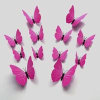 ingrosso carta da parati di compleanno-3d carta da parati 12 pz / set adesivi murali in pvc simulazione farfalle adesivi magnete fai da te frigorifero casa poster camera da letto festa di compleanno matrimonio deco-1