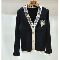 pullover strickjacken großhandel-Frauen Strickjacken Casual Womens Marke Designer Pullover Jacke Luxus Kleine Duft Schwarz und Weiß Strickjacke Mantel