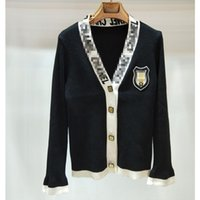 abrigos al por mayor-Mujeres de punto chaquetas casual para mujer diseñador de la marca suéteres chaqueta de lujo pequeña fragancia de punto negro y blanco Cardigan Coat