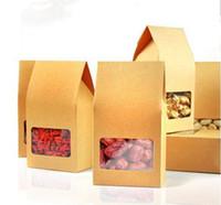 steh auf papierkiste fenster großhandel-DHL 8 * 15,5 * 5 cm Umweltfreundliche Brown Stand Up Bag Doypack Beutel Mit Klaren Fenster Kraftpapier Kleinpaket Box Für Nüsse Trockenfutter