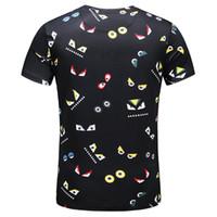famous print design t shirt toptan satış-Son dünyaca ünlü marka t shirt saf pamuk kısa kollu garip gözler Mektuplar gibi baskı tasarım mens tasarımcı t gömlek
