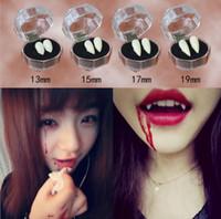 dientes de vampiro de halloween al por mayor-Horrible vestido de payaso diversión Dientes de vampiro Fiesta de Halloween Dentaduras Props Zombie Devil Fangs Diente con goma dental