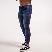 sıkı kot sıska erkek toptan satış-Toptan Skinny Jeans Erkekler Mavi Bant Klasik Hip Hop Streç Kot Hombre Slim Fit Marka Biker Stil Sıkı Kot Bantlama Erkek zm20