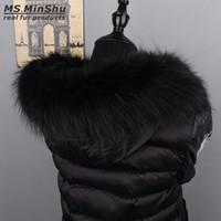sudadera con capucha de piel de mapache al por mayor-MS.MinShu Genuine Raccoon Fur Hood Bufanda Negro Color Fox Fur Collar Bufanda Collar grande por encargo con capucha ajuste