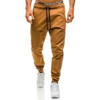 marcas de ropa para hombre de mayor calidad al por mayor-Hombres Joggers 2018 Nuevos Pantalones Casuales Hombres Ropa de Marca Alta Calidad Primavera Pantalones de color Caqui Pantalones Masculinos Elásticos Mens Joggers 3XL M3-008
