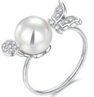 perlenringe zinken großhandel-Echtes Weißes Gold Überzug Diamant Und Shinning Perle Prong Einstellring, Mode Platin Paar Ring Schmuck Teile 6/7/8/9 ringgrößen