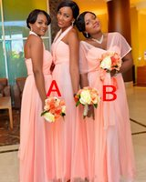 Wholesale african styles dresses resale online - 2019 gorgeous African Plus Size Long Bridesmaid Dresses Wedding Guest Dresses Two Style Cap Sleeves Halter Ruffles Maid Of Honor Gowns