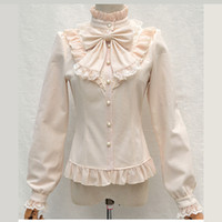 Wholesale Victorian Collar Ruffle - Beige Chiffon Neck Bow Ruffle Stand Collar Lantern Sleeve Victorian Gothic Shirt Women Vintage Blouse 2018 Lolita Female Blouses