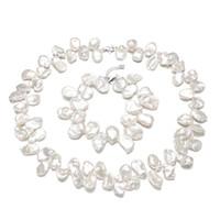 ingrosso perle di keshi d'acqua dolce-SNH 12-14mm keshi 925 argento 100% bianco naturale perla set di gioielli d'acqua vera perla collana braccialetto set di gioielli