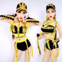 ingrosso vestiti di performance femminili cantanti-Costumi di danza Hip Hop Costume da Bar Ds Abbigliamento sportivo Trend Letter Hip-Hop Jazz Sexy Nightclub Dj Female Singer DN1666