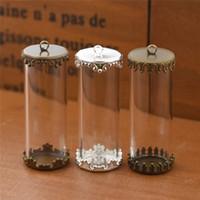 ingrosso pendenti in tessuto fatti a mano-Tubo di vetro cavo 40X15mm con fiale di vetro base di fissaggio pendente ciondolo bottiglia di vetro globo gioielli risultati rendendo gioielli