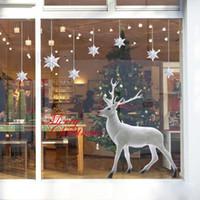 ingrosso adesivi di arte del bagno-Natale cervo 3D Window Pane Wall Sticker Bagno Wc Cucina Decorativa Decalcomanie Animali Divertenti Decor Poster Murale Art # 5