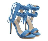 Wholesale high heel jeans shoes - Hot sale 2018 Women Spring Summer Jeans Sandals Girls suede Ankle Strap High Heels Shoe Sexy Female Trade Sandals Stiletto Wedding Shoes