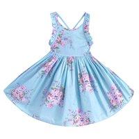 ingrosso vestito floreale blu delle neonate-Pettigirl Neonate Abiti Blue Floral Girl Dress Backless Kids Designer Abbigliamento Ragazze Summer Clothes G-NBGD1008-006