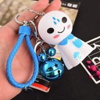 Wholesale japanese silicone man doll - Lovely new sunny day doll key ring pendant Japanese birthday present doll machine small ornament girl key ring