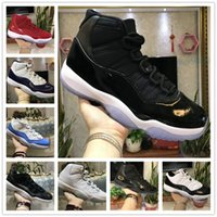 Wholesale air gym - 11s Prom Night Basketball Shoes 11 Men Women cap Gown Gym Red space jam concord PRM Heiress bred gamma blue Air Sports Sneakers