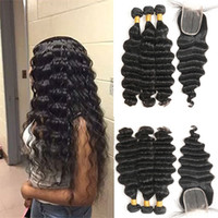 "Wholesale 12 x 16 - Indian Loose Deep Wave 3 Bundles with Closure 100% Unprocessed Indian Virgin hair Loose Deep with 4""x 4"" lace Closure Free Shipping"