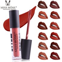 Wholesale red rose beauty - MISS ROSE New Fashion Color Beauty Red Lips Baton Matte Lip Stick Waterproof Makeup Pigment Brown Nude Matte Lipstick Pencils