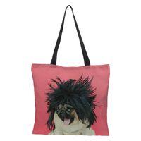 льняные тотализаторы оптовых-Lady's Foldable Handbag Shoulder Bags Beach Bag Cute Prints Women's Shopping Bag linen Soft Fashion Zipper Hand Totes for Summer
