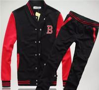 moda coreana con capucha envío gratis al por mayor-¡Venta al por mayor-libre! Nueva moda para hombre Sport Sets Sweat Suits Chándales de estilo coreano Baseball Jacket Hoodies / Sudaderas y Pantalones