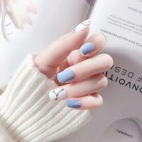 cola azul unhas venda por atacado-24 Pcs Branco Luz Azul Falso Prego Gelo Fosco Mármore Quadrado Artificial Nail Art Tips com Etiqueta Da Colagem para o Office Home Faux Ongle