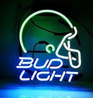 ingrosso neon luminoso di bud-Custom New Bud Casco Light Real Glass Neon Sign light Birra Bar Sign Invia bisogno di foto 19x15