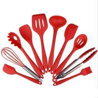 ingrosso cucchiaio da forno-Utensili da cucina in silicone resistenti al calore 10pcs Utensili da cucina in pasticceria Set di utensili da cucina, cucchiai, spatola 1 mestolo ecc