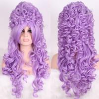 perucas barrocas venda por atacado-Marie Antoinette barroco lavanda renascimento longo onda encaracolado cosplay peruca