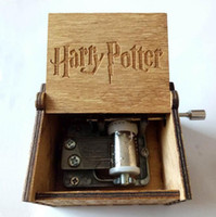 Wholesale hand crank music - Tiny Music Box for Harry Potter Fans Engraved Wooden Hand-cranked Toys Gifts Harry Potter Wooden Music Box Party Favor CCA10092 20pcs